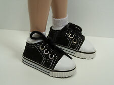 "Black Canvas Tennis Doll Shoes For 14"" Kish Chrysalis Lark Raven Piper (Debs)"