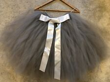 Brand New Girls Hand-tied Grey tulle skirt flower girl Age 9