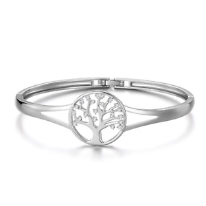 Silver Tree of Life Cuff Bangle Created with Swarovski® Crystals by Philip Jones