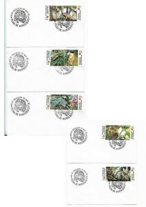EL SALVADOR FAUNA OF MONTECRISTO 10 VAL ON 5 FDC TIGER BIRDS FLOWERS NATURE