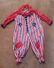Adorable Vintage Child's Circus Clown Costume Hallowen Plays Red White Blue