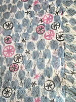Vintage abstract mid century modern fabric remnant panel stars flowers, great!!