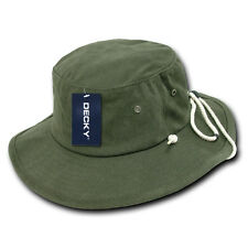 Olive Green Aussie Boonie Safari Bucket Fishing Outback Drawstring Hat Hats L/XL