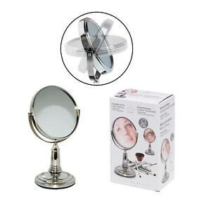 Double Sided Round Table 1x/3x Magnifying Mirror Cosmetic Makeup Shaving Swivel
