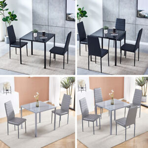 3/5Pcs Square Dining Table + Chairs Set Glass Table for Dining Room Small Space
