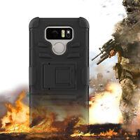 E LV Shockproof Hybrid Armor Impact Hard Phone Case Kickstand Holster for LG G6
