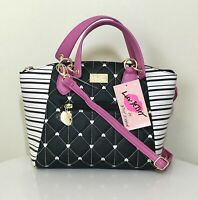Betsey Johnson Dome Satchel Crossbody Bag Quilted Purple Black Hearts Purse NWT