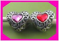 BRIGHTON ABC SWIRLY LOVE Heart PINK & RED Crystal BEAD Spacer NEW Set of 2 LOT