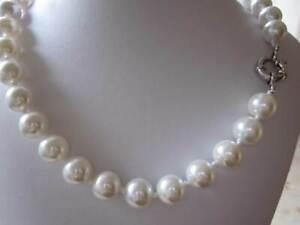 Üppige MUSCHELKERNPERLENKETTE 50 cm Perlenkette Weiss 16 mm Kette  Perlen *c428