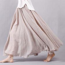Womens Lady Cotton Linen Pleated Maxi Long Beach Boho Skirt Vintage Casual Dress