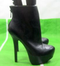 "new Black 6""High Stiletto Heel 2""Platform Round Toe Sexy Ankle Boot Size 7"