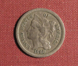 1888 3-CENT NICKEL - BETTER DATE, VERY LOW MINTAGE, NICE DETAILS, SOME HAIRLINES