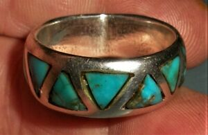 VINTAGE NAVAJO DEEP BLUE TRIANG TURQUOISE STERLING SILVER WEDDING BAND RING vafo