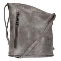 Damen Schultertasche Umhängetasche Handtasche Leder Optik Tasche Grau Crossover