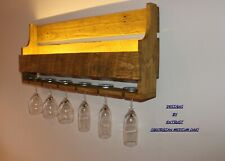 Rustic Wooden Wine Rack - LIGHT UP - Glass Holder Reclaimed Wood Drinks Prosecco
