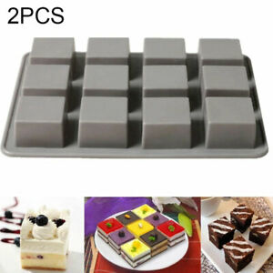 2Pcs 12 Square Cake Chocolate Cookies Baking Moulds Ice Cube Soap Mold Trays DIY