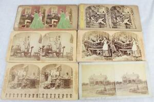 Lot of 6 Stereoviews Rare Early Images of Domestic Life Interiors Victorian Home