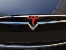 "Tesla Model S Nose Cone Front Emblem ""T"" Pre-2016 Decal Sticker (Matte Red)"