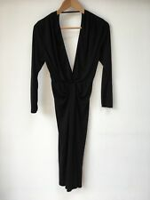 True Vintage 80's Black Party Pencil Dress Sexy Deep V Neck & Back Rushed Sz 8