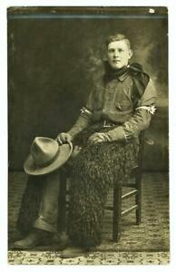 RPPC Vtg 1910's Handsome Cowboy in Wooly Chaps, Leather Gloves & Sleeve Garters