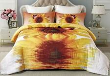 Imiee Yellow Sunflower Print Comforter Sets 3 Pieces Twin/Full/Queen Quilted .