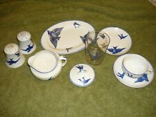 KT&K (Knowles,Taylor,Knowles) China Tea Cup Saucers creamer plate S&p Bluebird