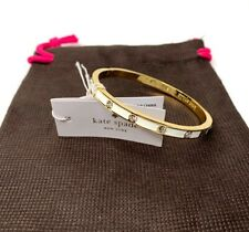Kate Spade New York Clear White Enamel / Clear Stones Hinged Bangle