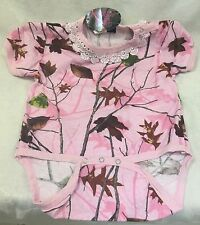 Baby Pink Camo With Ruffles One Piece 18 Months