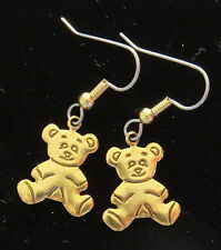 Teddy Bear Baby in Pajamas Earrings 24 Karat Gold Plate Bears PJ's Teddies