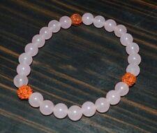 ROSE QUARTZ & RUDRAKSHA STRETCH BRACELET Healing Jewelry