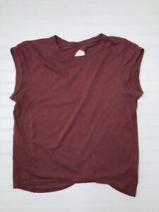 ZYIA Women's Wine Cap Sleeve Tie-Back Cotton/Tencel T-Shirt XL