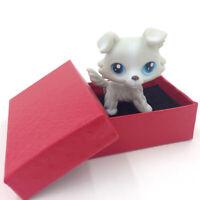 LPS #363 Littlest Pet Shop Gray White Collie Dog Puppy Blue Eyes Kids Toys Gift