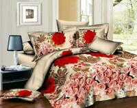 Duvet Cover Set 3D Red Rose Bed Set Fitted Sheet Pillow Case Single/Double King