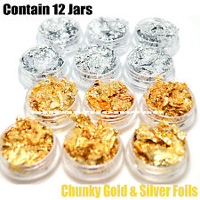 1 KLEANCOLOR 3D NAIL ART DECORATION PROFESSIONAL CHUNKY GOLD SILVER FOILS NA312F