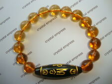 FENG SHUI - BLACK ONYX MANTRA DZI WITH 10MM CITRINE