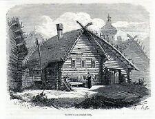 Antique print house russian village Wolga Volga river Russia 1870 stampa antica