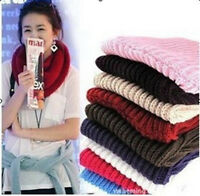 Women Comfort Knit Neck Circle Wool Blend Cowl Snood Long Scarf Shawl Wrap FT