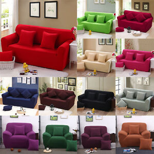 Stretch Chair Cover Sofa Covers Slipcover Solid 1 2 3 4 Seaters Protector Couch