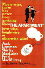 The Apartment Movie Promo Poster Jack Lemmon Shirley MacLaine Fred MacMurray