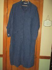 Kate Hill Women's Blue Linen Dress 1x  button front