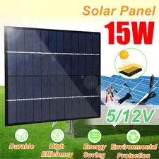 15W DC 12V Portable Solar Panel Power Battery Charger For Car Boat With 2