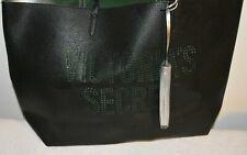 NWT Victoria's Secret Laser Cut Black Canvas Tote Bag Weekender Purse Tassel