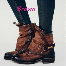 Women Buckle Faux Leather Ankle Boots Military Combat Flat Oxford Warm Shoes