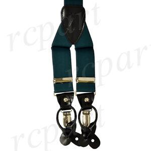 New Y back Men's Vesuvio Napoli Suspenders Braces clip on formal Hunter Green