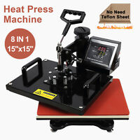 "15""x15"" 8 in 1 Heat Press Machine Transfer Sublimation Cap T-Shirt Hat Printing"