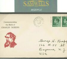 More details for ms954 1937 gb *charles dickens* vignette keviii franking commemorative cover usa