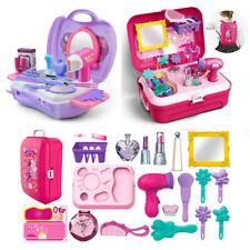 21Pcs Beauty Salon Toys Vanity Kit Carrycase Pretend Makeup Set for Girls & Kids
