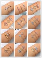 Women's Adjustable Chain Bracelet Micro Pave Rhinestone Cuff Bracelets Jewelry