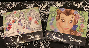 2 DISNEY Princess Jigsaw 300 Pieces Puzzles Belle, Rapunzel, Cinderella, Aurora