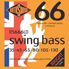 Rotosound RS666LD Swing 66 Stainless Steel 6-String Bass Guitar Strings 35-130